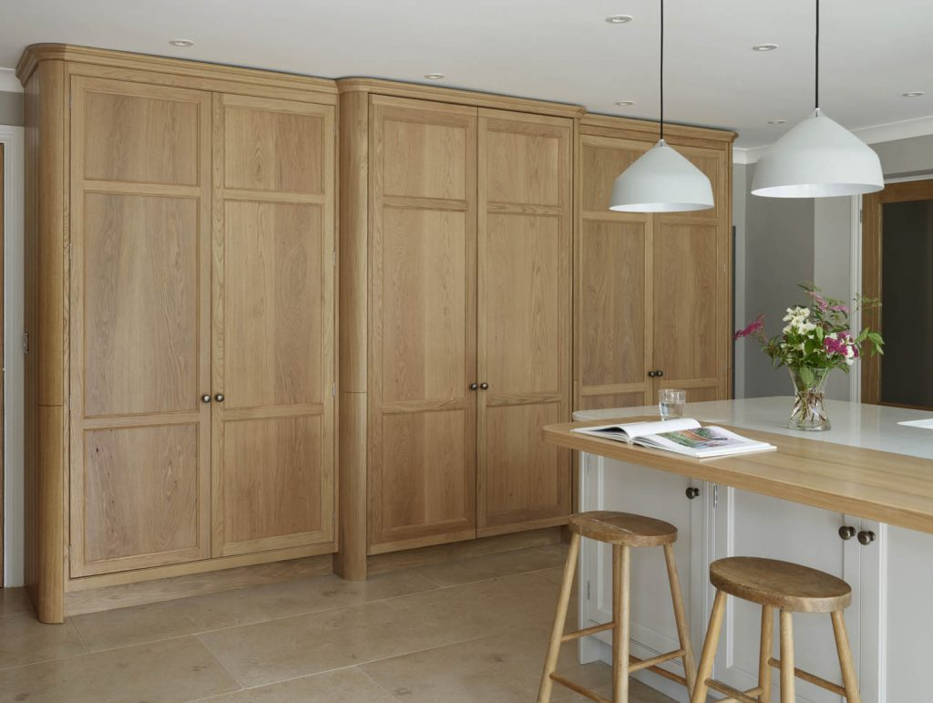Custom crafted traditional oak larder unit in modern and traditional style kitchen situated in Enborne, West berkshire