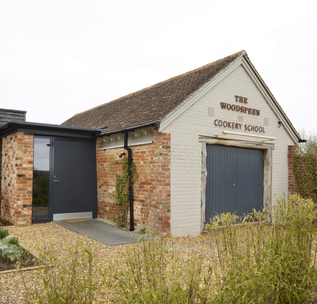 Exterior view of the Woodspeen Cookery school in Newbury Berkshire which has been renovated by Snug Kitchens