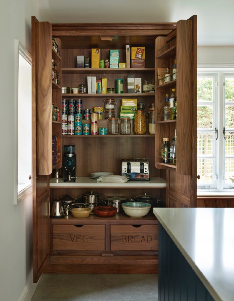 Hand-made traditional walnut larder unit