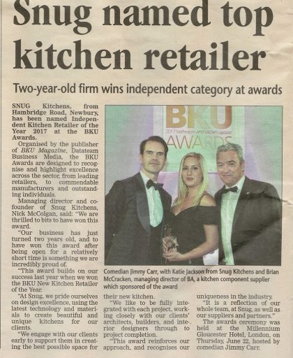 Article showing Snug Kitchens as top kitchen retailer in Newbury News Today paper