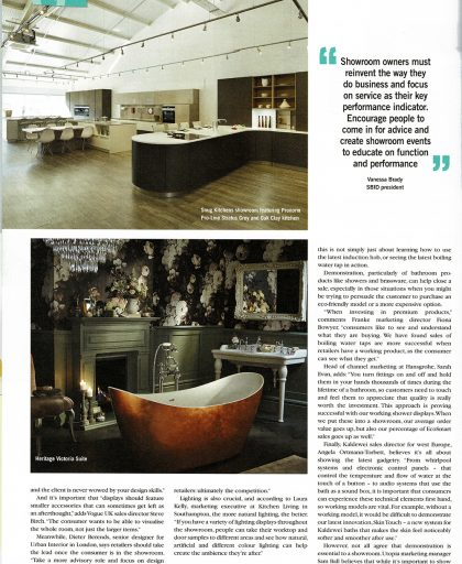 Article page In KBB Review showing Snug Kitchens Show Room
