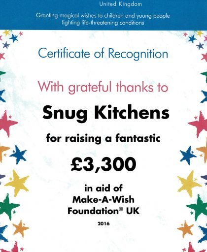 A donation to the Make a Wish foundation from Snug Kitchens