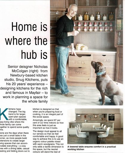 Article spread in Out & About magazine containing information taken from Nick McColgan about his company Snug Kitchens
