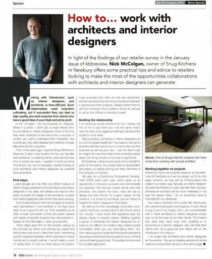 Article in KBB Review on How to work with Archiects and Designers by Nick McColgan