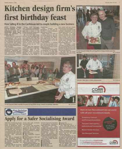 Article showing Snug Kitchens' first birthday feast with chef Giancarlo Caldesi Newbury News Today paper