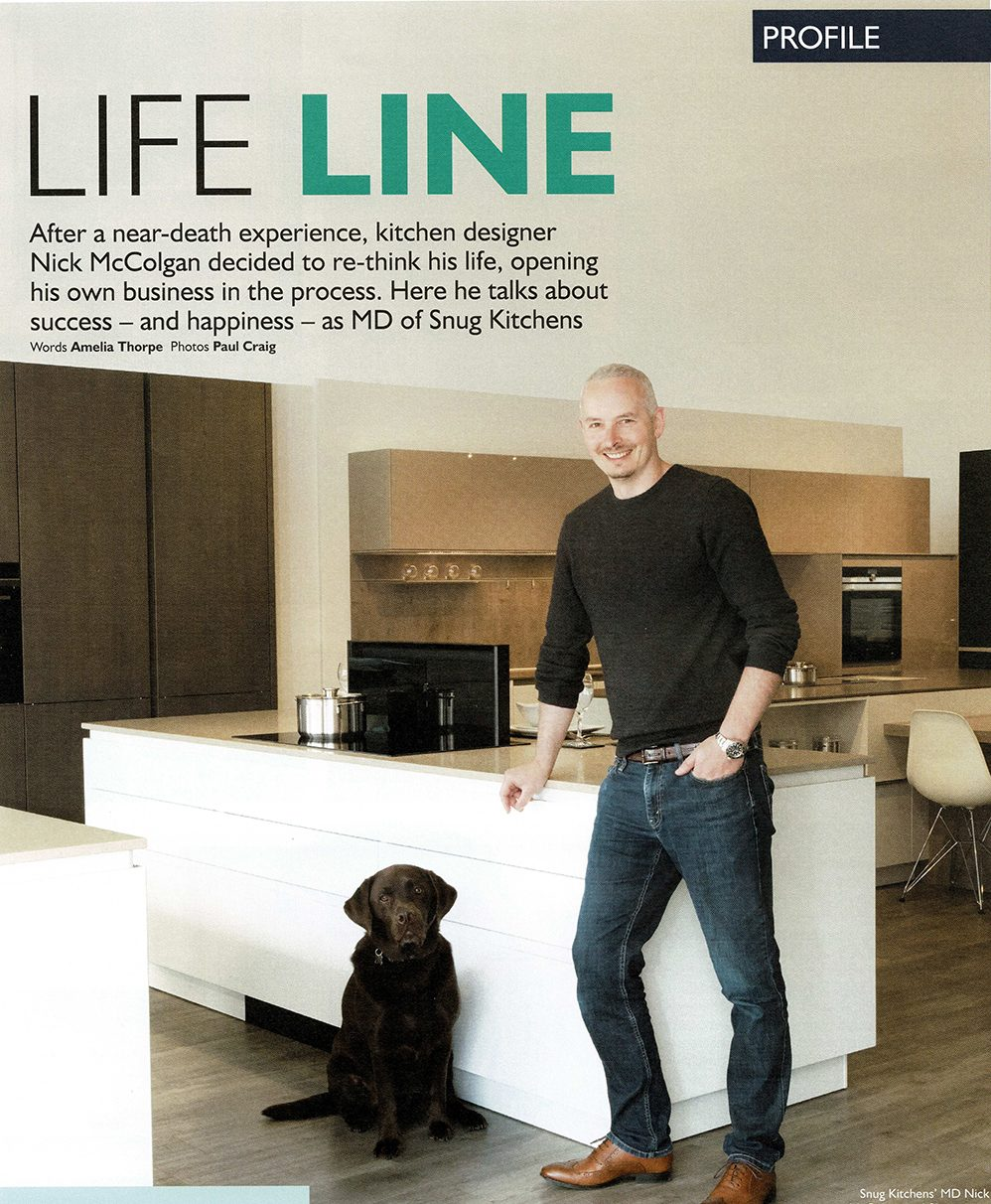 Front cover of kitchen magazine featuring skipper the dog and Nick McColgan